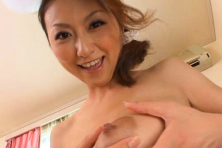 Hot milf Rei Aoki milks juicy tits and thick cock