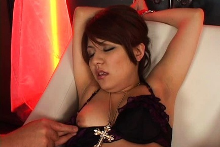 Horny little babe Mina Nakano takes some pussy stimulation by a stranger.