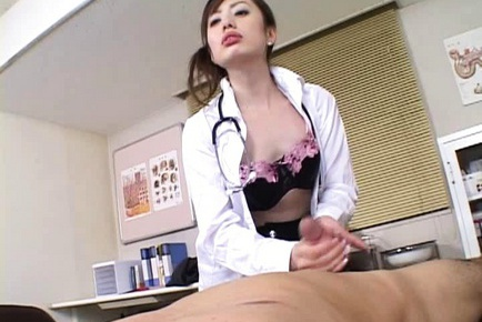 Nasty nurse gives her patient a good treatment to cure his disease.