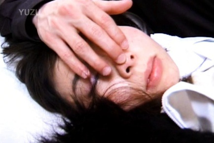 Hot Japanese babe gets cum on her face