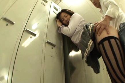 Cute Asian teen Nade Tomoseka cock sucking and rear fuck