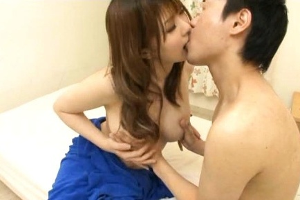 Sexy Japanese AV Model offers up her big tits and tight pussy To Him