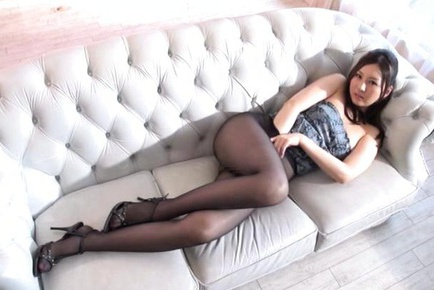 Yui Tatsumi hot Asian chick shows her pantyhose covered legs