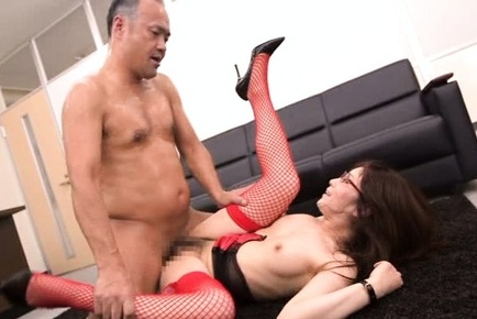 Hot MILF with red stockings gets pleasured to the max