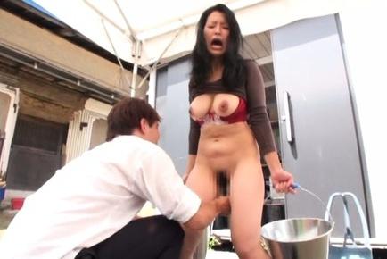 Lovely Japanese housewife Yuko Kasatsuki enjoys pussy rubbing