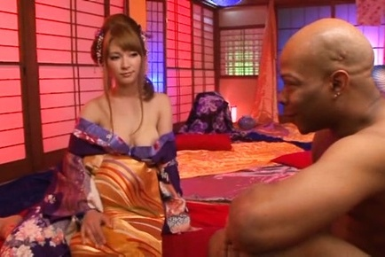 Black cock to please busty Japanese gal�s shaved twat