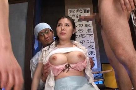Busty Japanese milf Sophia Takigawa loves fucking in threesome action